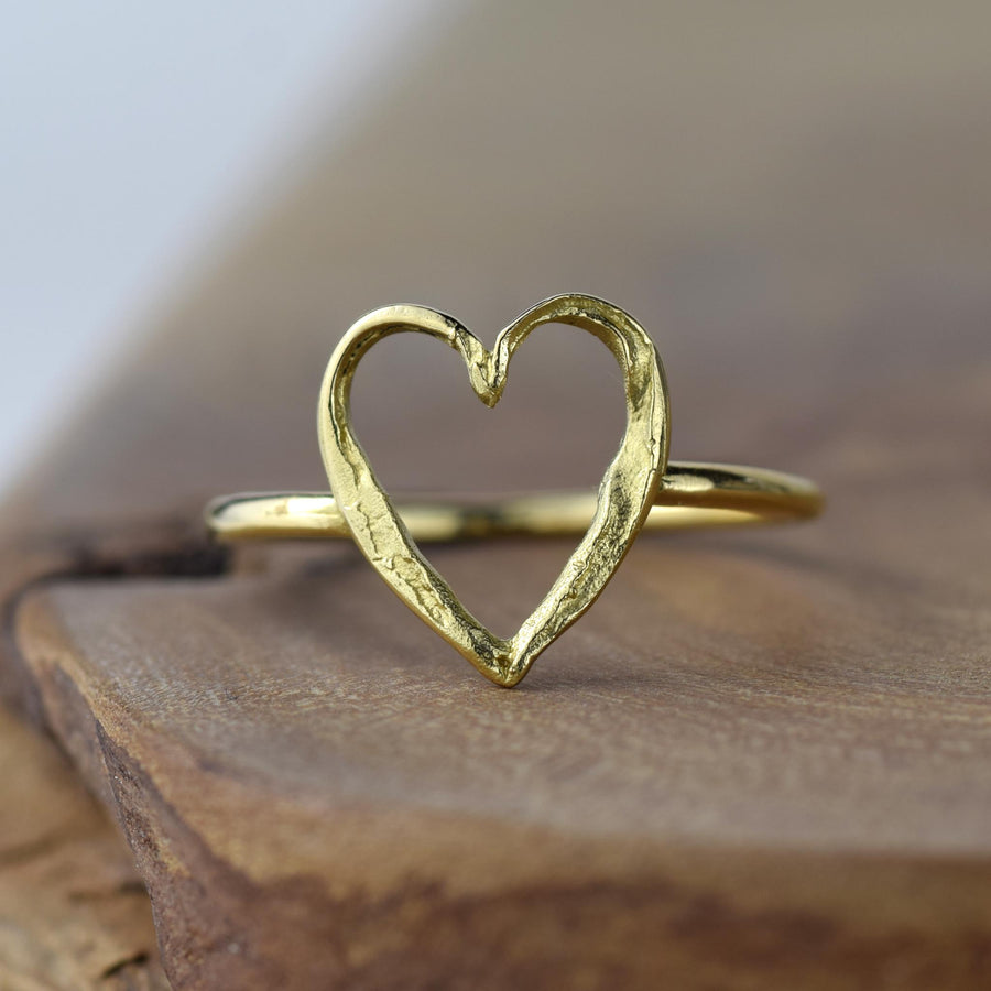Small Gold Open Heart Ring