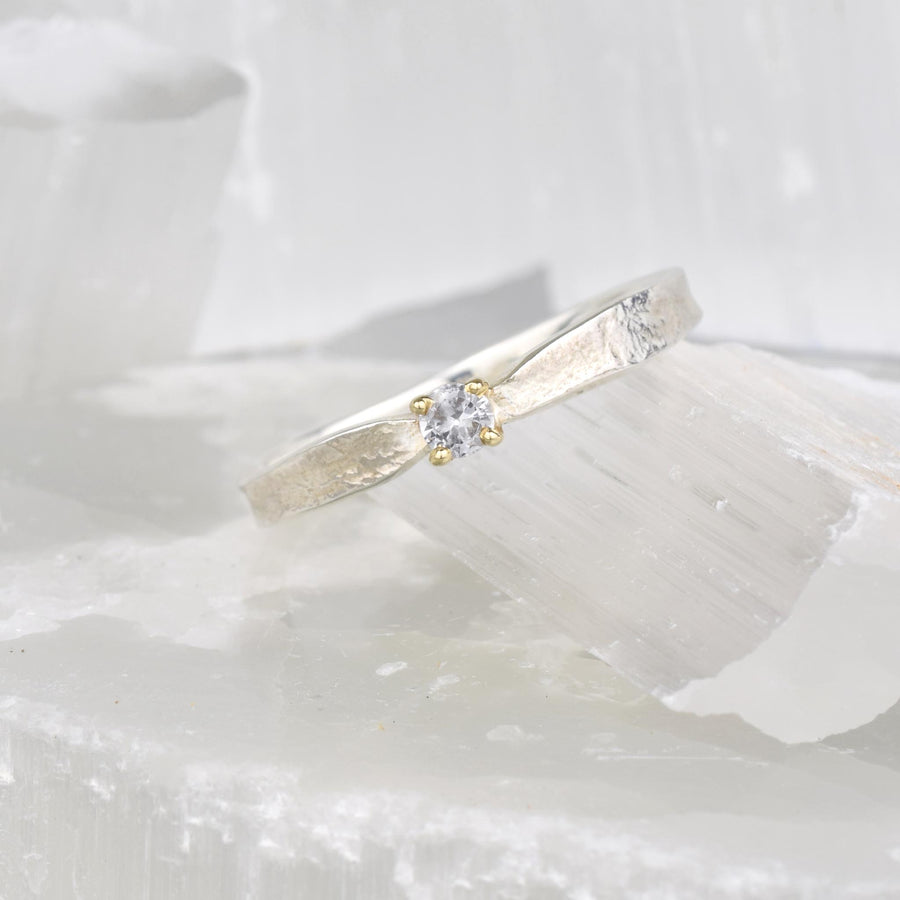 White Sapphire Thumbelina April Birthstone Ring