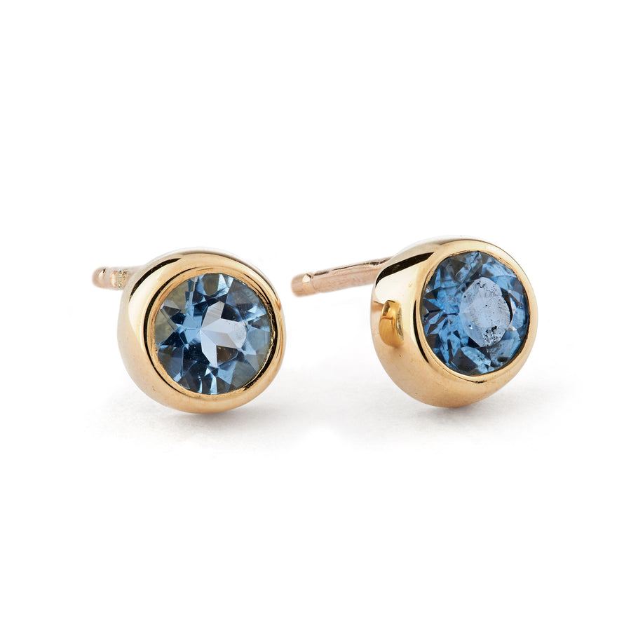 Aquamarine Gold Solitaire Stud Earrings