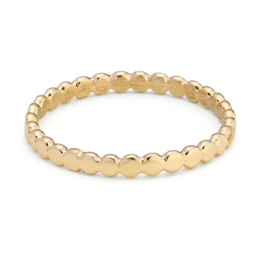 Skinny Yellow Gold Pebble Ring