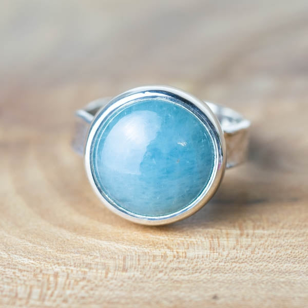 Large Round Aquamarine Storybook Ring - No.130