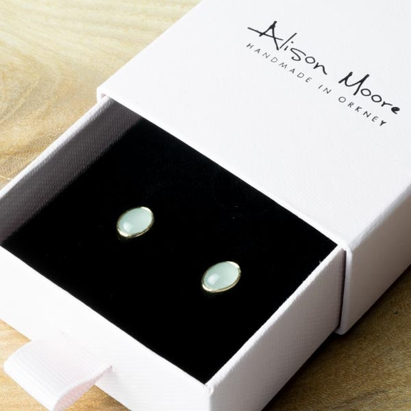 One Of A Kind Silver And Gold Oval Aquamarine Studs - No.131
