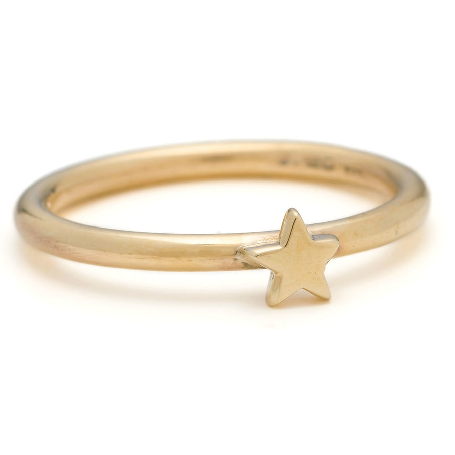 Solid Gold Star Stacking Ring