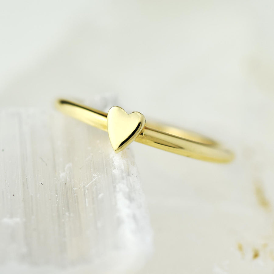 Lunar Solid Yellow Gold Heart Ring