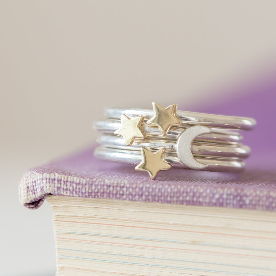 Lunar Star and Moon Stacking Ring Set