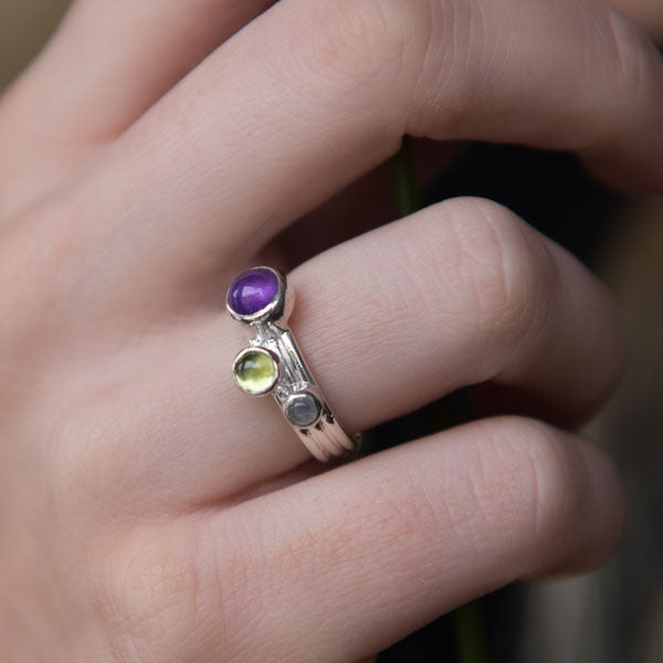 Whimberry Amethyst Solid Nebula ring