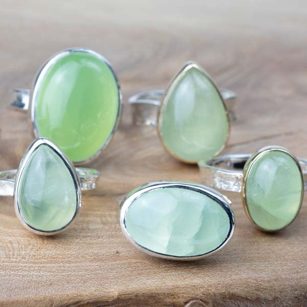 Silver and Solid Gold Oval Prehnite Ring - No.323