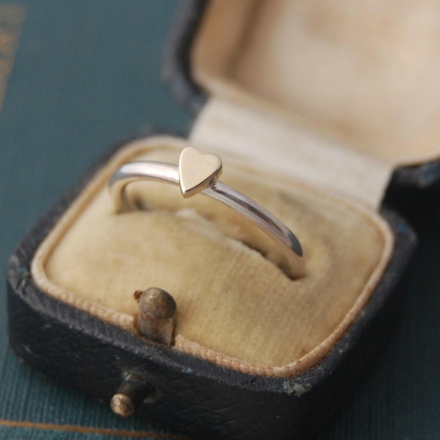 Lunar Silver And Gold Heart Ring