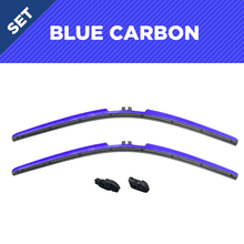 "Load image into Gallery viewer, CLIX Blue Carbon Precison-Fit Two Pack Click-on Wiper Blades - 22"" 18"" - Fit Small Top Button Wiper Arms"