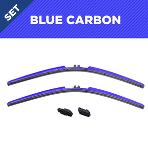 "CLIX Blue Carbon Precison-Fit Two Pack Click-on Wiper Blades - 22"" 18"" - Fit Small Top Button Wiper Arms"