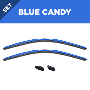 "CLIX Blue Candy Precison-Fit Two Pack Click-on Wiper Blades - 22"" 18"" - Fit Small Top Button Wiper Arms"