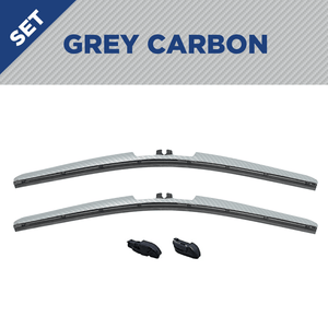 "CLIX Grey Carbon Precison-Fit Two Pack Click-on Wiper Blades - 26"" 18"" - Fit Small Top Button Wiper Arms"