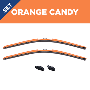 "CLIX Orange Candy Precison-Fit Two Pack Click-on Wiper Blades - 26"" 18"" - Fit Small Top Button Wiper Arms"