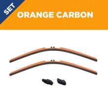 "Load image into Gallery viewer, CLIX Orange Carbon Precison-Fit Two Pack Click-on Wiper Blades - 26"" 18"" - Fit Small Top Button Wiper Arms"