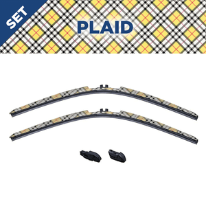 "CLIX Plaid Precison-Fit Two Pack Click-on Wiper Blades - 22"" 18"" - Fit Small Top Button Wiper Arms"