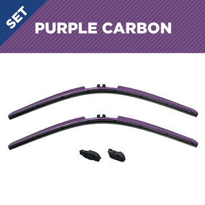 "CLIX Purple Carbon Precison-Fit Two Pack Click-on Wiper Blades - 26"" 18"" - Fit Small Top Button Wiper Arms"