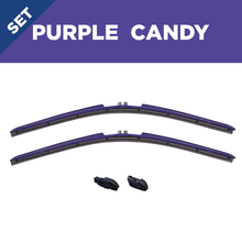 "Load image into Gallery viewer, CLIX Purple Candy Precison Fit Click-on Wiper Blades - 22"" 18"""