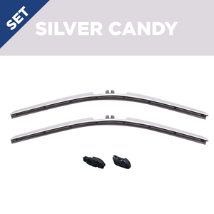 "CLIX Silver Candy Precison-Fit Two Pack Click-on Wiper Blades - 22"" 18"" - Fit Small Top Button Wiper Arms"