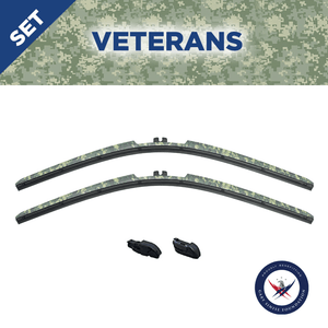 "CLIX CAMO Precison-Fit Two Pack Click-on Wiper Blades - 22"" 18"" - Fit Small Top Button Wiper Arms"