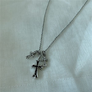 Silver Wild Clavicle Chain Micro Inlaid Cross Pendant Necklace
