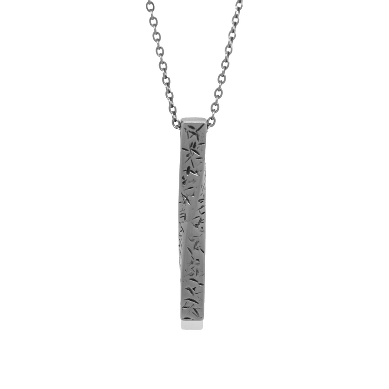 The Pillar Necklace In Brushed Steel