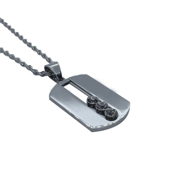 Triad Tag Necklace In Polished Steel