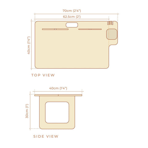 Dimensions of the compact desk