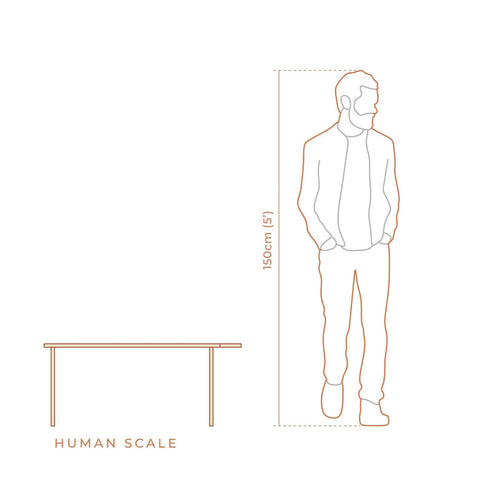 Compact desk in scale with a human