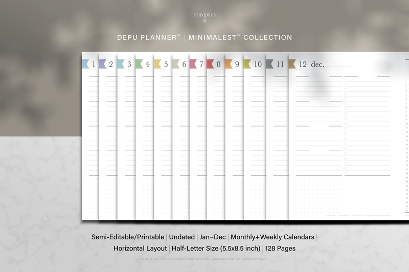 DEPU Planner™ Minimalest™ Editable/Printable | Undated 12 Months Jan-Dec | Monthly Weekly Horizontal Layout | Half-Letter Size | Printable PDF File | 128 pages