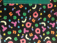 Black ABC alphabet pattern cotton poplin woven fabric (per half metre)