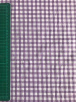 Lilac gingham cotton woven fabric (per half metre)