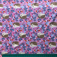 Hedgehog pink floral patterned cotton jersey knit fabric (per half metre)