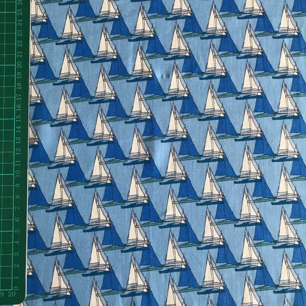 Blue sailboat nautical patterned viscose woven fabric (per half metre)
