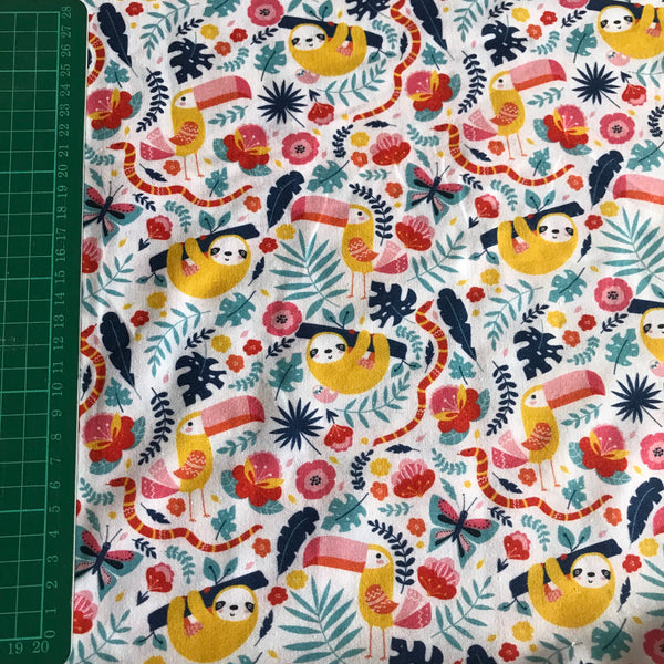 Sloth/toucan tropical floral patterned cotton woven fabric (per half metre)