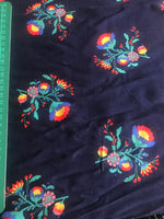 Navy floral patterned viscose fabric (per half metre)