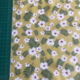 Yellow floral and leaves patterned cotton poplin woven fabric (per half metre)