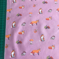 Purple autumn leaves and foxes patterned polycotton woven fabric (per half metre)