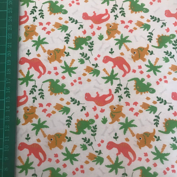 White dinosaur nature patterned polycotton woven fabric (per half metre)