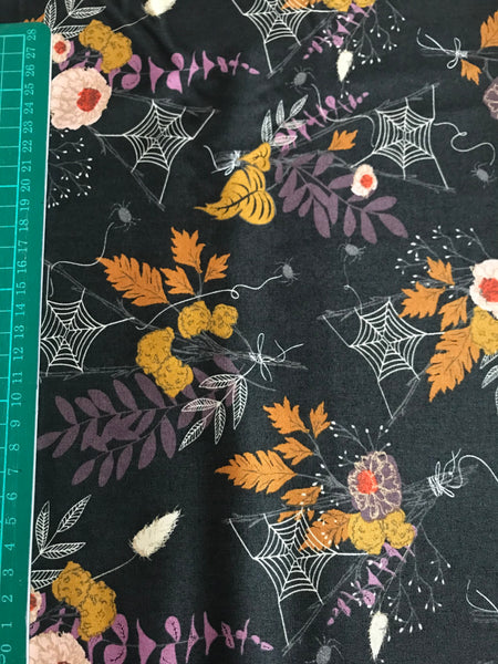 Halloween autumn leaves/leaf and spider web cotton woven fabric (fat quarter)
