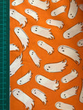 Halloween orange ghost spooky cotton woven fabric (fat quarter)