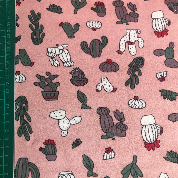 Pink cactus houseplant patterned sweatshirt fleece fabric (per half metre)