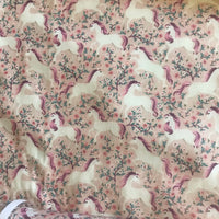 Pink unicorn patterned cotton woven fabric (fat quarter)