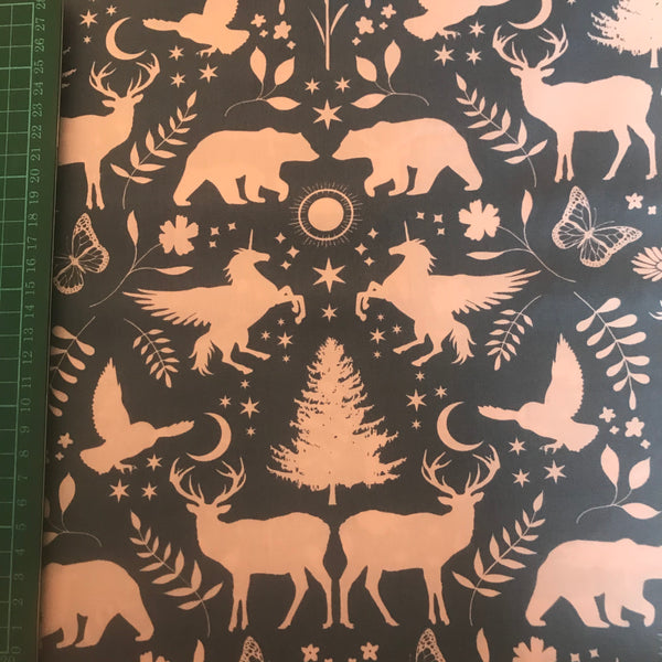 Mystic unicorn and bear woodland patterned cotton woven fabric (per half metre)