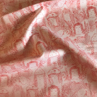 Red doodle face autumn woodland patterned cotton woven fabric (per half metre)