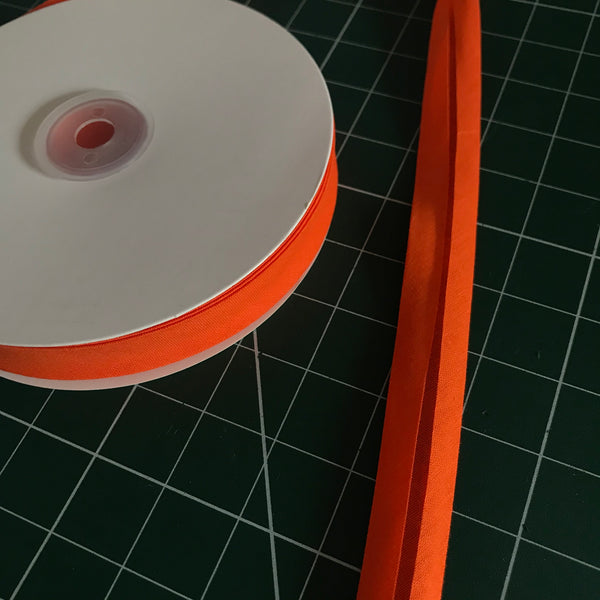 Orange cotton single fold bias binding (20mm width) (per metre)