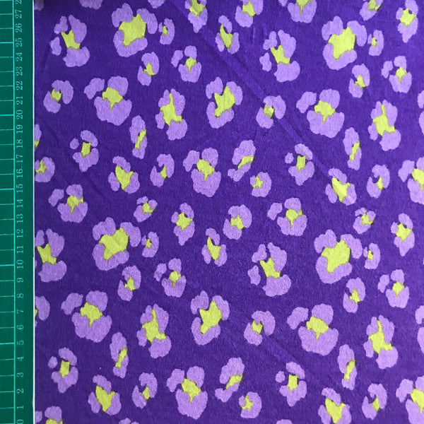 Abstract purple animal leopard print viscose jersey knit fabric (per half metre)