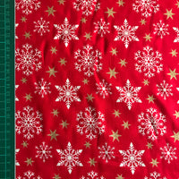 Christmas red snowflake glitter star patterned cotton woven fabric (per half metre)