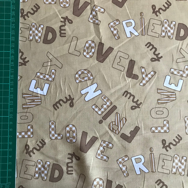 "Children's ""lovely friend"" brown neutral patterned cotton woven fabric (per half metre)"