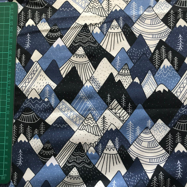 Christmas/winter blue snowy mountain top cotton woven fabric (fat quarter)