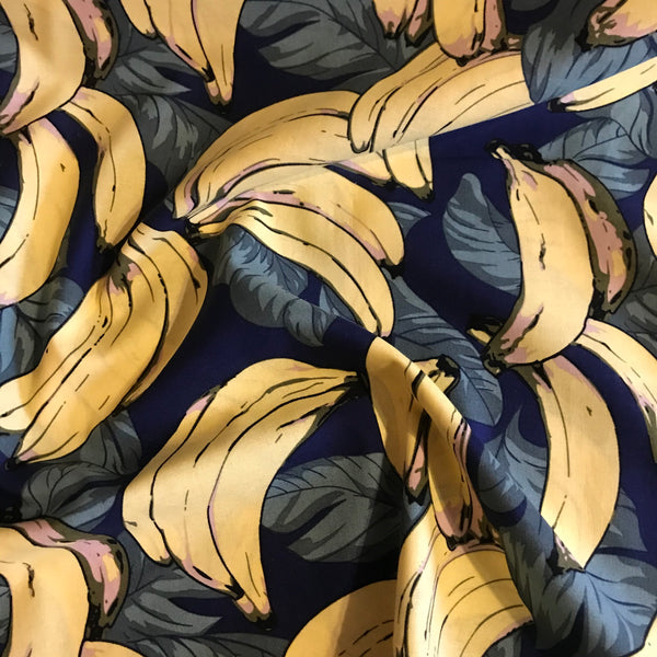 Navy banana print bold patterned cotton woven fabric (per half metre)